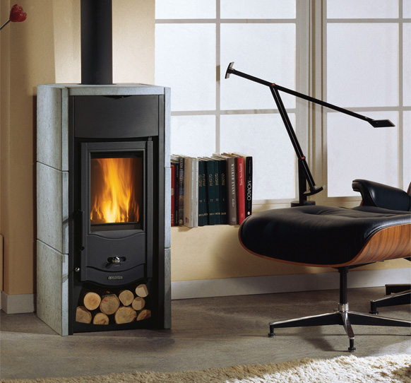 Wood Burning Stove With Natural Stone Covering