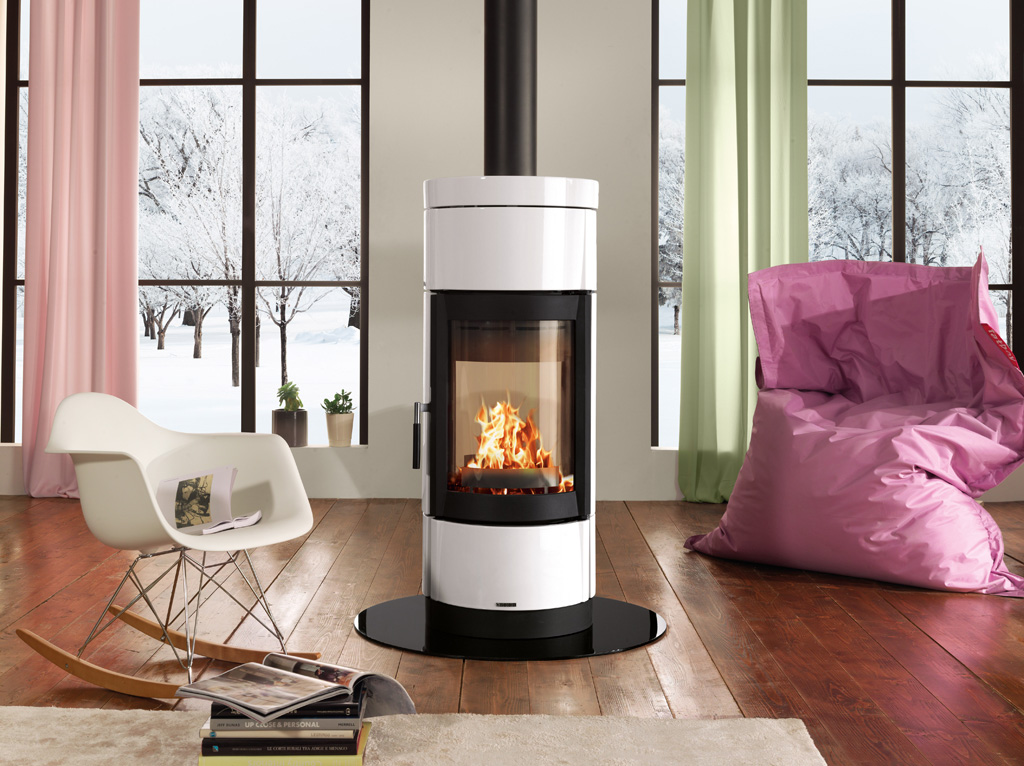 Round Shaped Wood Burning Stove With Panoramic View Of The Fire